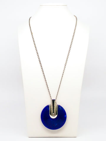 Blue Disc Pendant Necklace