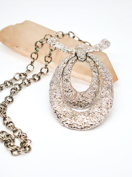 Hammered Doorknocker Pendant Necklace