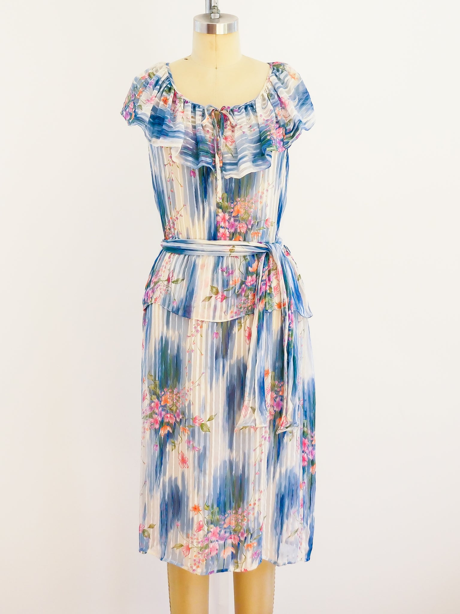 Watercolor Floral Silk Chiffon Dress