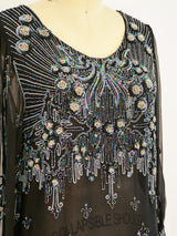 Beaded Silk Chiffon Dress