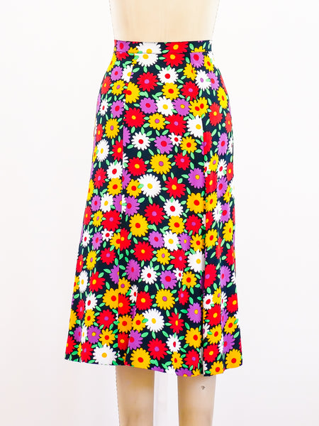 Yves Saint Laurent Daisy Print Skirt