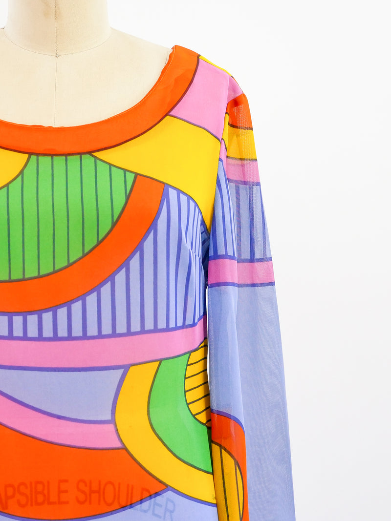 Louis Feraud Op Art Print Dress