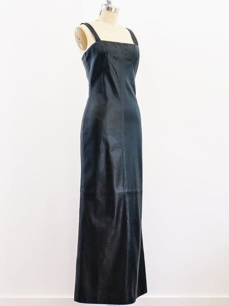 Gianni Versace Leather Column Dress