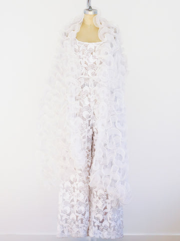 White Lace Jumpsuit with Shawl