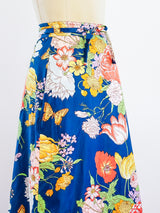 Polished Cotton Floral Maxi Wrap Skirt