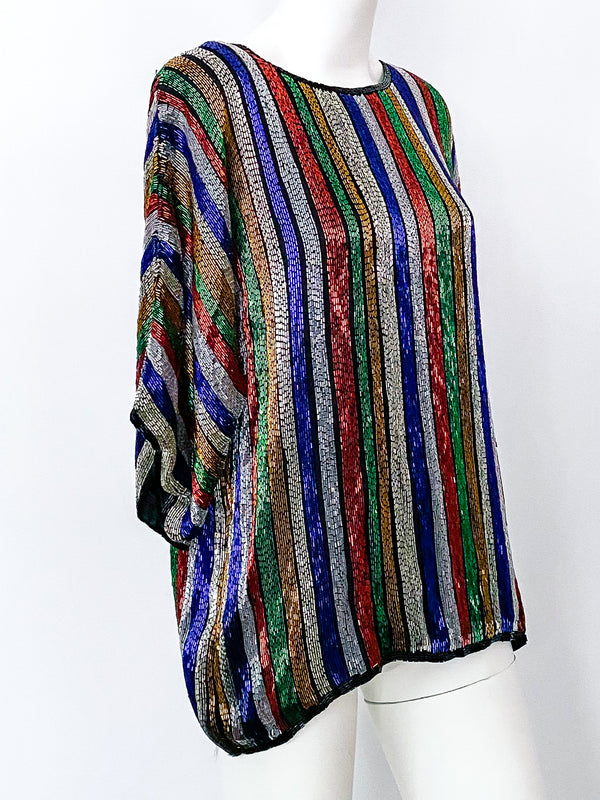 Rainbow Stripe Beaded Top