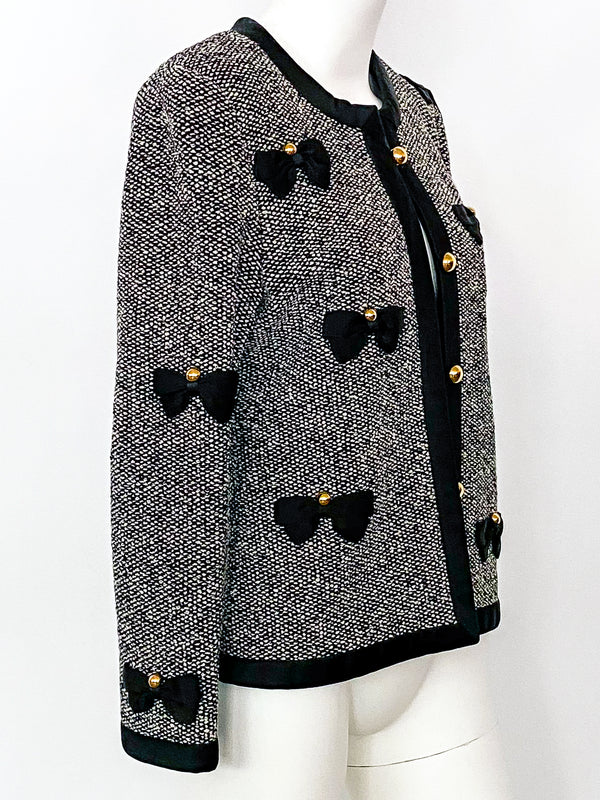 Adolfo Tweed Jacket with Bows