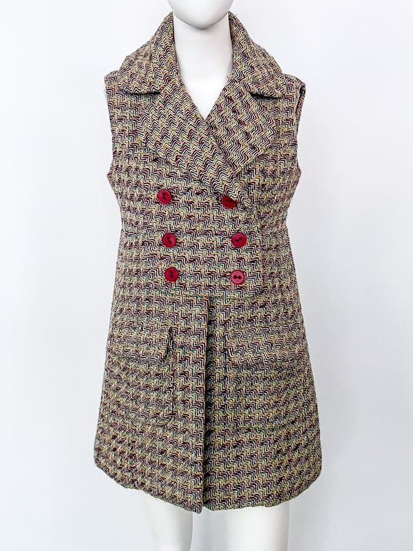Donald Brooks Tweed Sleeveless Jacket