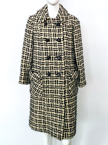 Black and White Tweed Coat