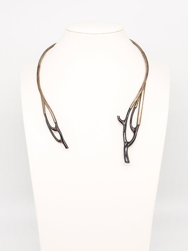 Sterling and Black Coral Collar Necklace