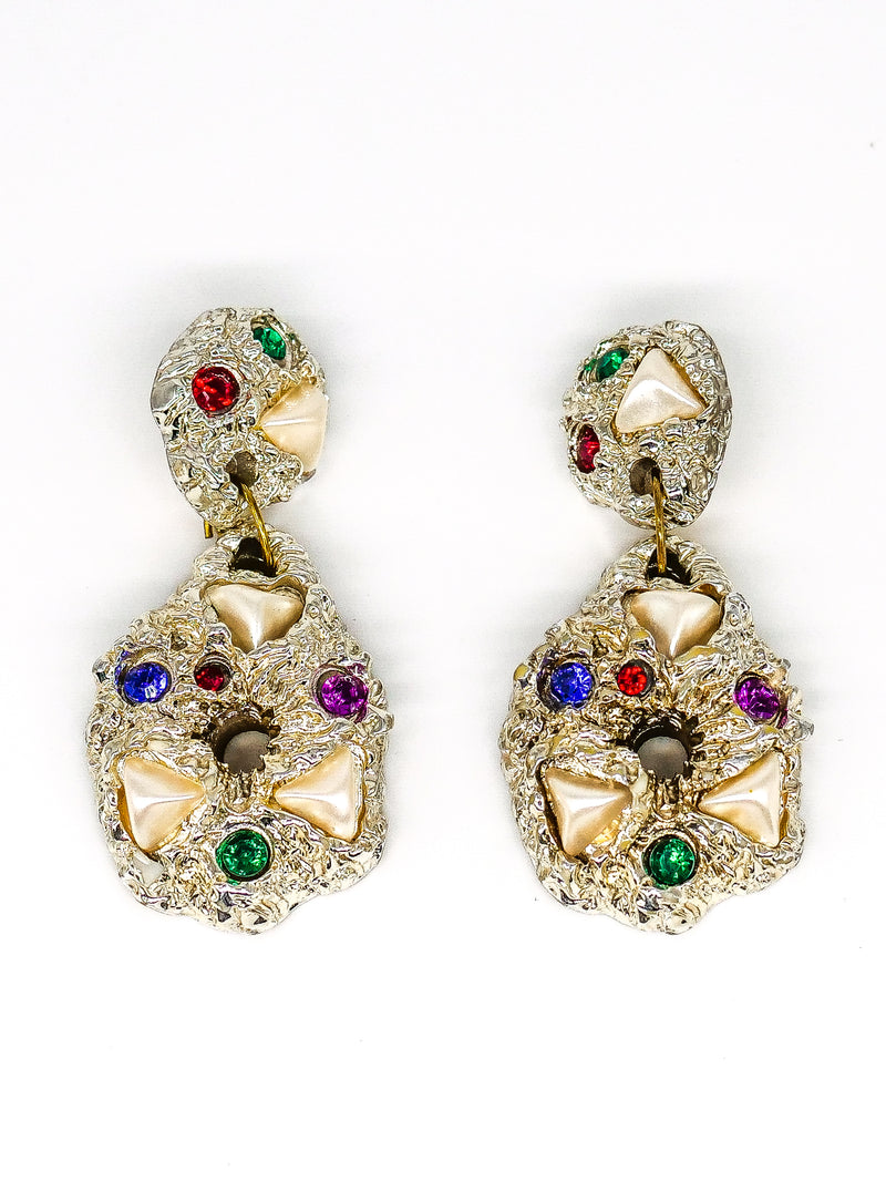 1980's Jeweled Teardrop Earrings