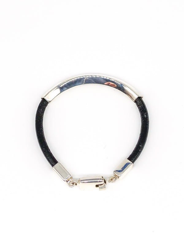 Sterling Wrapped Leather Bangle