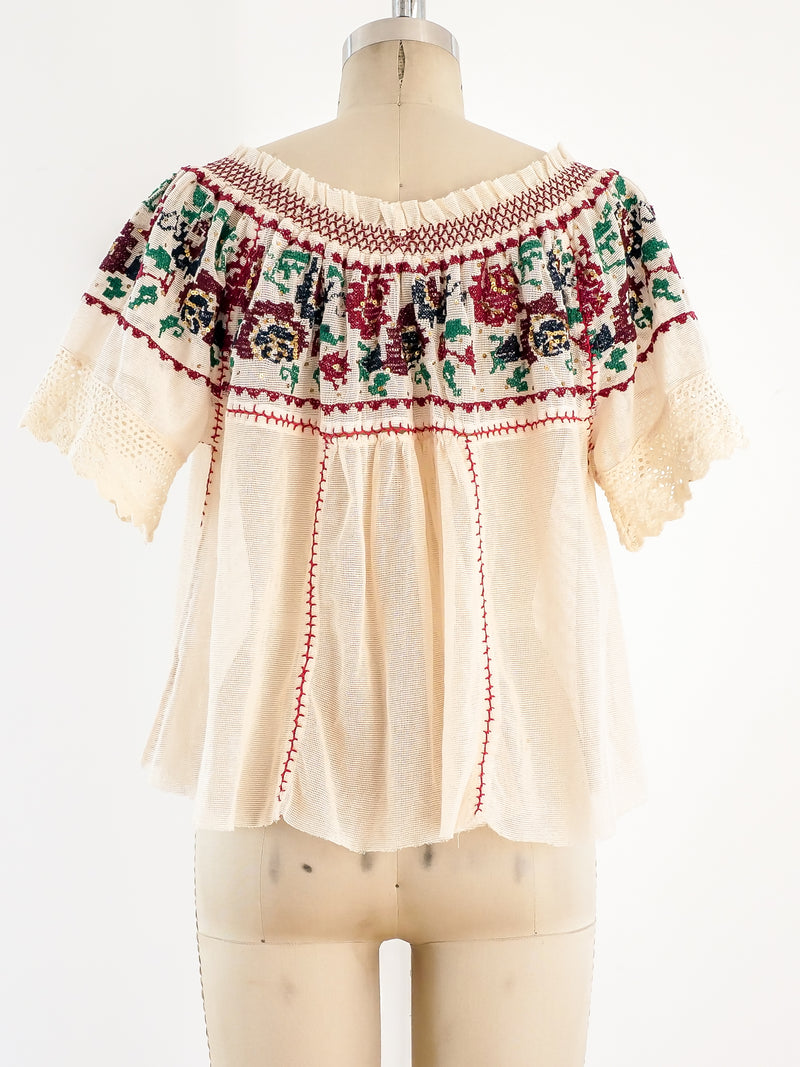Embroidered Net Peasant Top