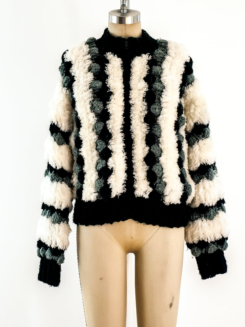 Black and White Pom Pom Zip Front Sweater