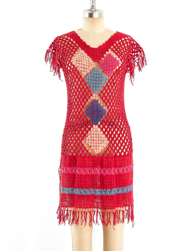 Open Crochet Red Dress