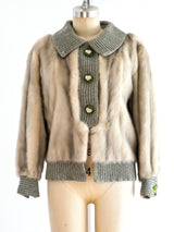 Grey Mink Cropped Jacket