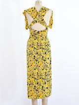 Yellow Floral Dress Ensemble