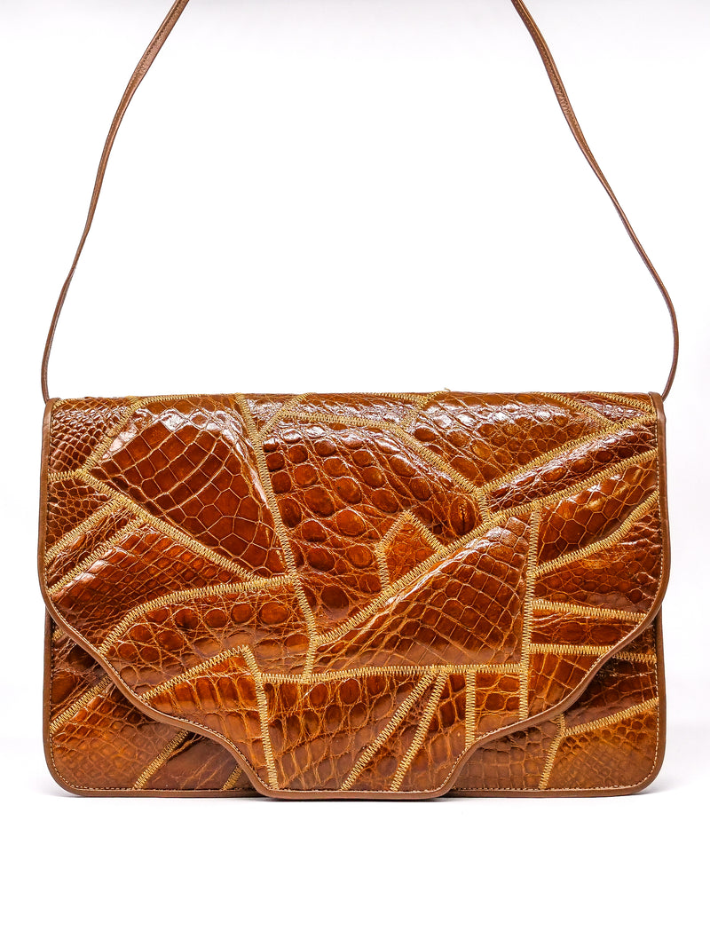 Patchwork Croc Embossed Convertible Clutch