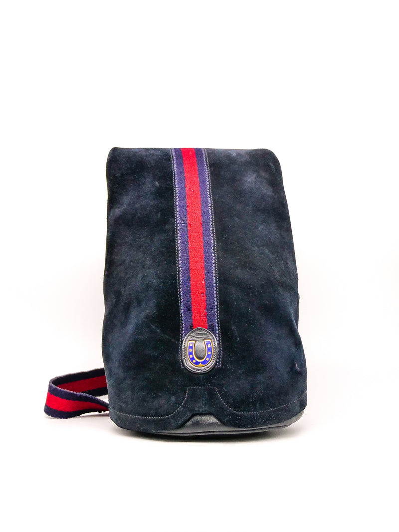 Gucci Navy Suede Web Bag