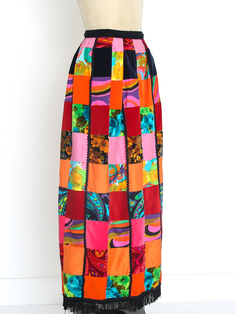 Neon Patchwork Fringed Maxi Skirt