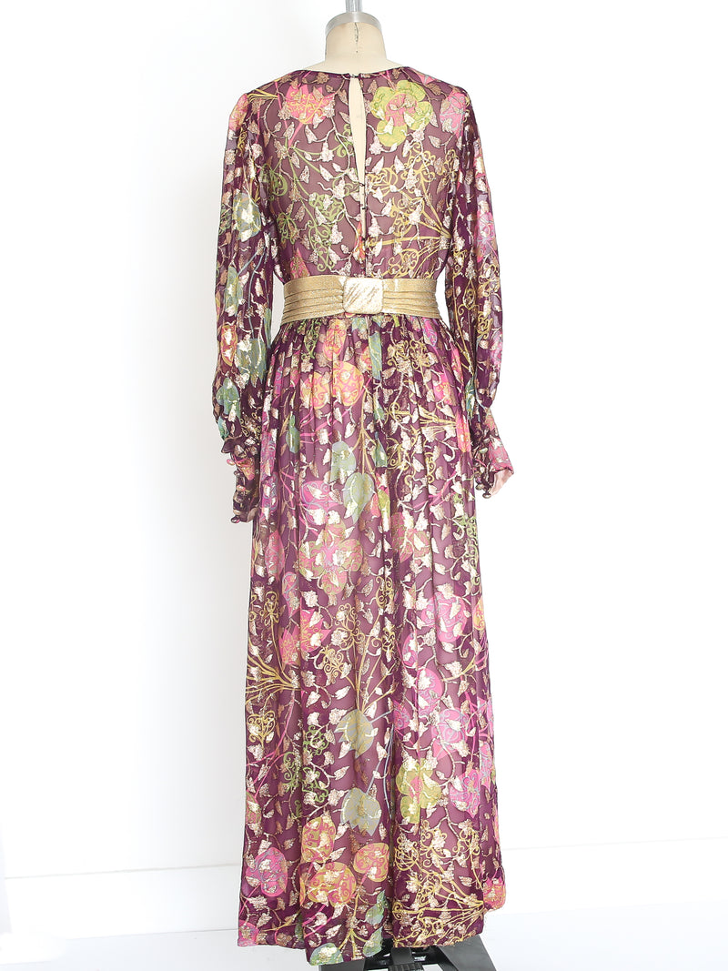 Christian Dior Metallic Floral Gown
