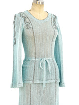 Blue and silver knit ensemble