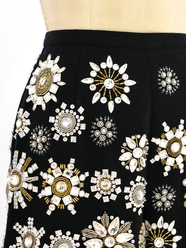 Crystal Embellished Jersey Hot Pants