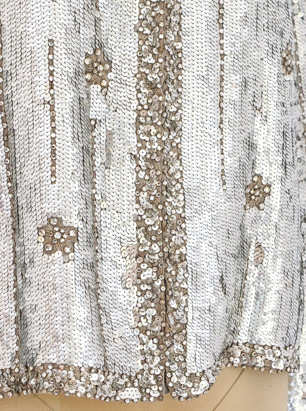 Silver Sequin and Rhinestone Embellished Jacket