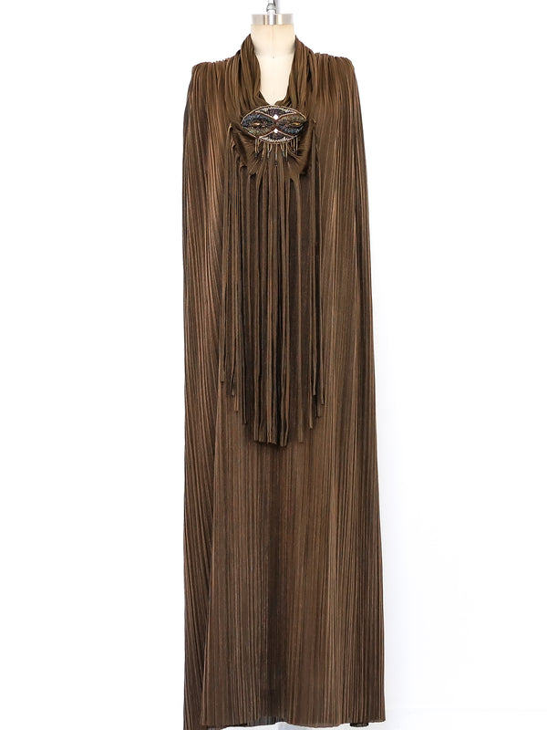 Mali Copper Plisse Pleated Maxi Dress
