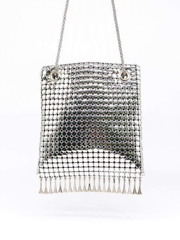 Whiting and Davis Silver Metal Mesh Fringed Bag
