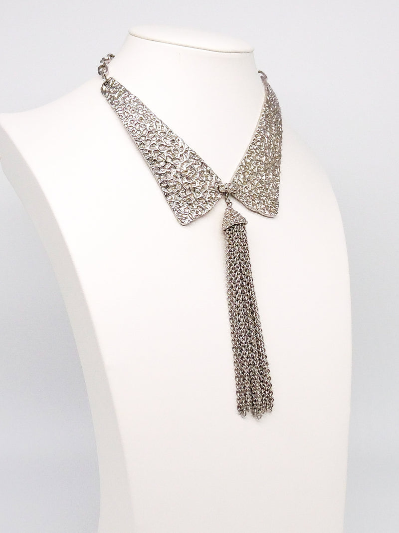 Textured Collar Tassel Necklace