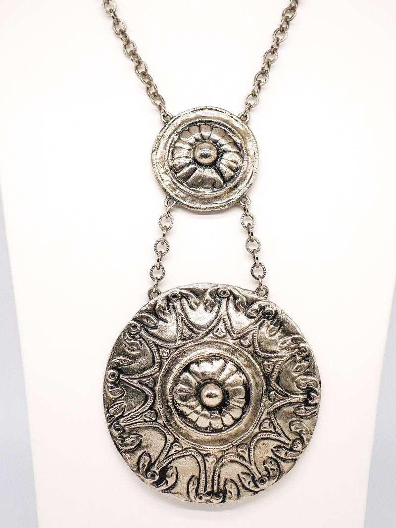 Oversized Medallion Disc Necklace