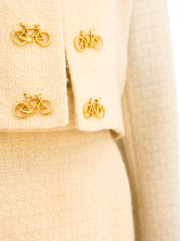 Moschino Ivory Tweed Suit with Bicycle Buttons
