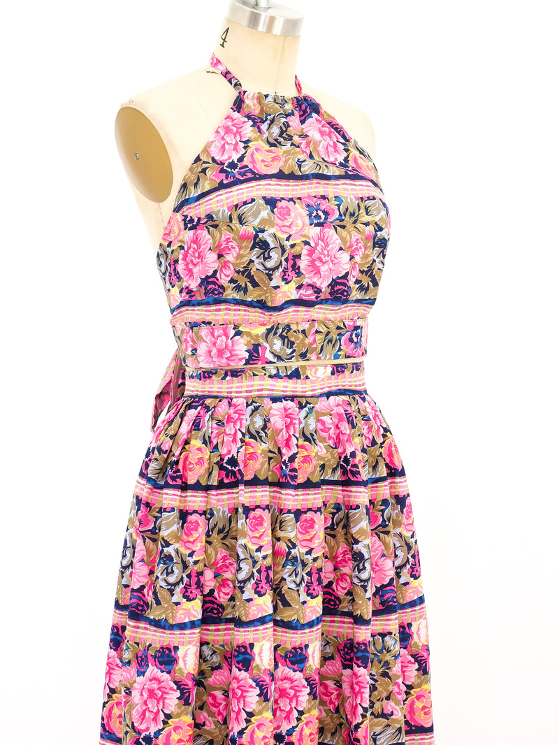 Floral Printed Silk Halter Ensemble