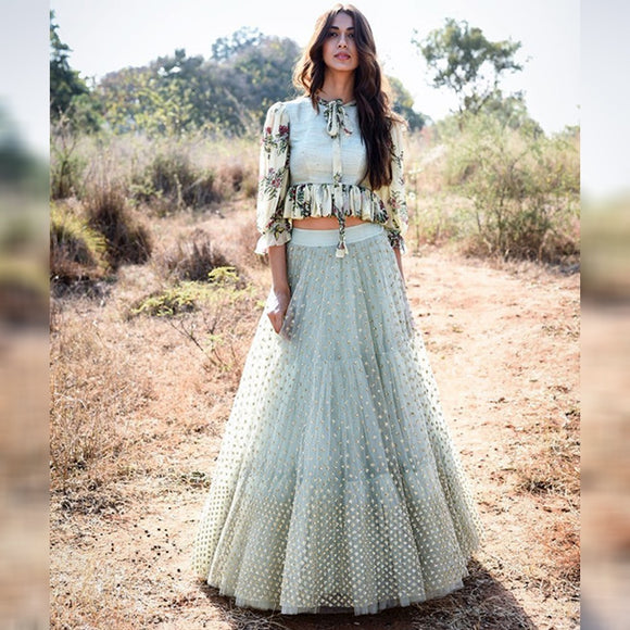 Pastel Grey Digital Lehenga (Semi-Stitch)-MAWL001
