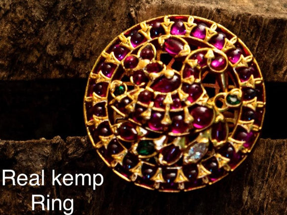 JAYAPRADA, PINK KEMP PEACOCK FINGER  RING FOR WOMEN -ARTRP001