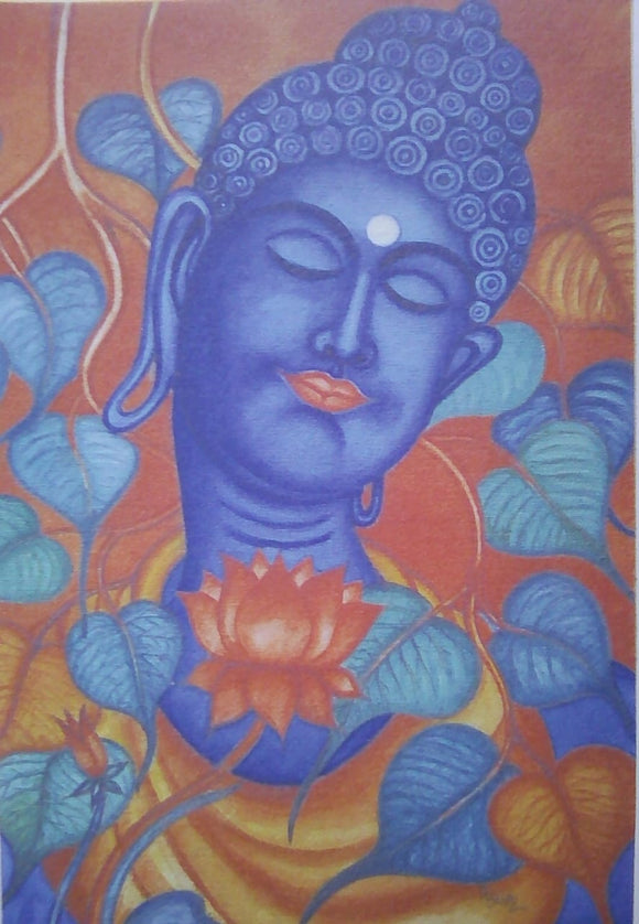 BUDDHA ,THE ENLIGHTENED BLESSED WITH  PEEPAL AND LOTUS PAINTING-BMPB001
