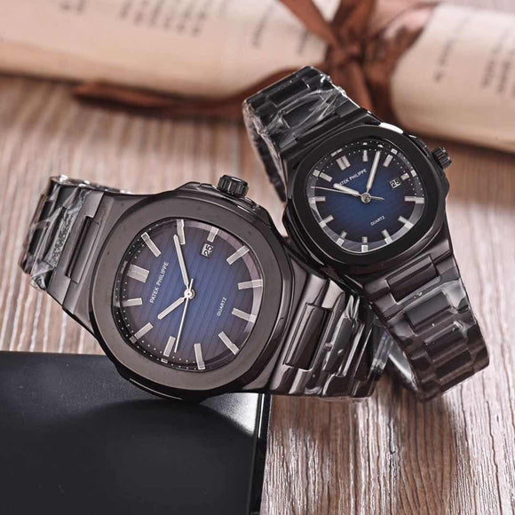 STYLISH BLACK METAL STRAP WITH BLUE DIAL WATCHES FOR COUPLE -SARACW003
