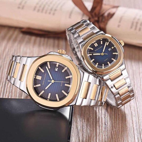 STYLISH SILVER&GOLD METAL STRAP WITH BLUE DIAL WATCHES FOR COUPLE -SARACW002