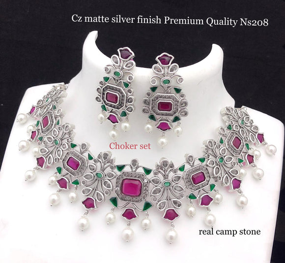 SHIVANI, PREMIUM QUALITY SILVER FINISH KEMP  NECKLACE SET FOR WOMEN -ARTNSD001S
