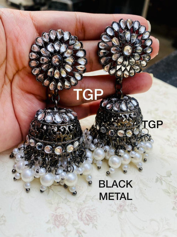 NEW AFGHANI JHUMKIS black metal premium range  with pearl beads
