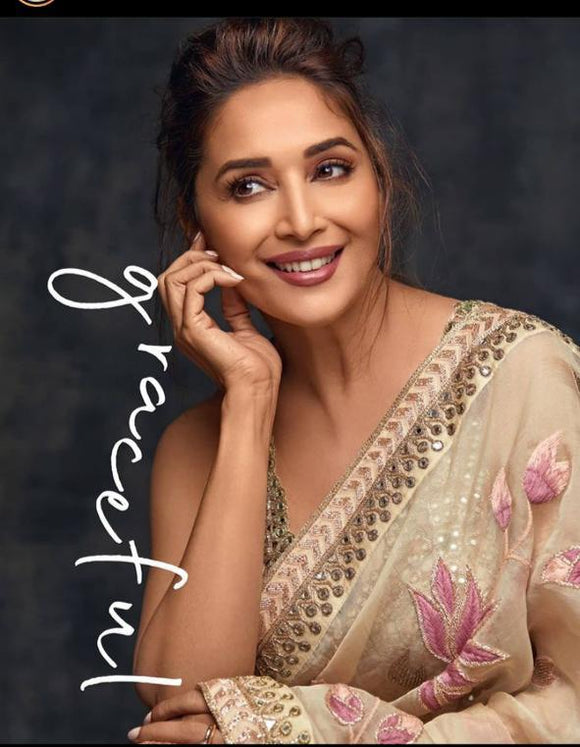 PURE ORGANZA SILK SAREE INSPIRED BY BOLLYWOOD QUEEN MADHURI DIXIT-MOEBR001