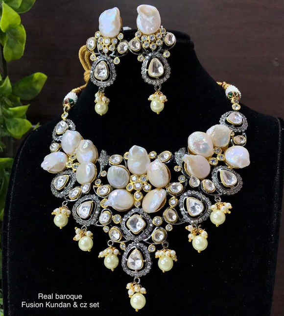 REAL BAROQUE FUSION KUNDAN AND CZ NECKLACE SET FOR WOMEN -MOEBNS001
