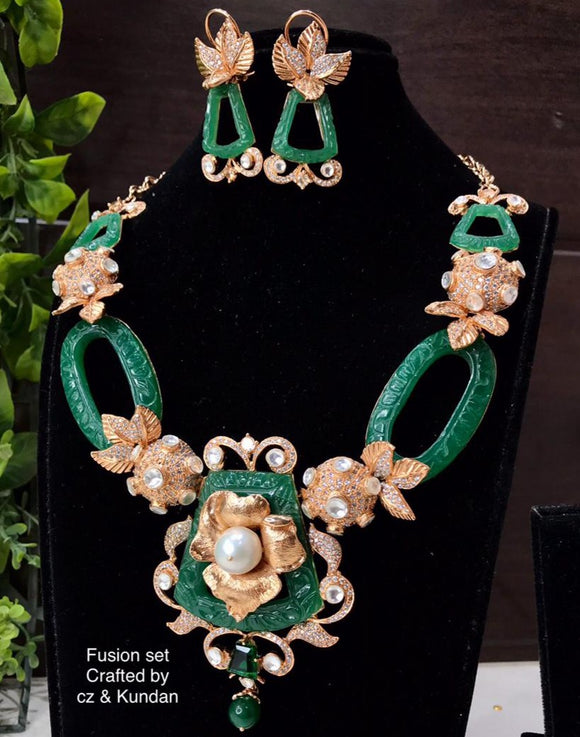 SAYANI, FUSION KUNDAN DESIGNER NECKLACE SET FOR WOMEN -MOEDNS001