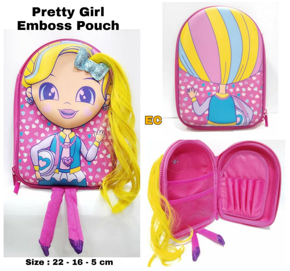PRETTY GIRL EMBOSSED POUCH FOR GIRLS