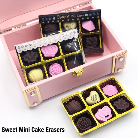 PACK OF 6 MINI CAKE ERASER SET FOR KIDS