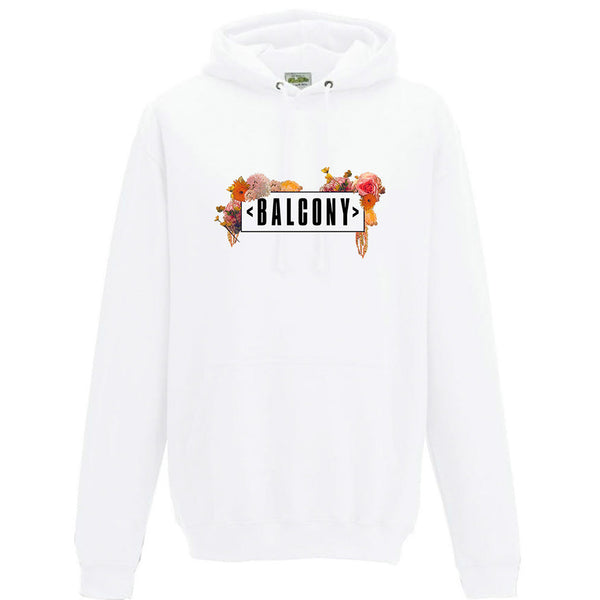 FLOWER LOGO WASHED WHITE HOODY