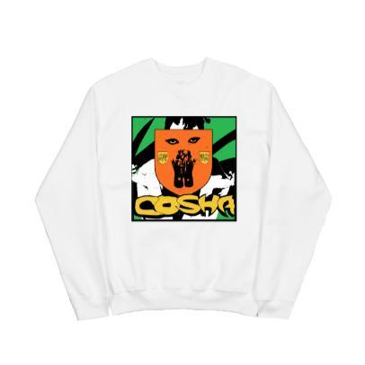 CREST WHITE CREW NECK SWEATSHIRT
