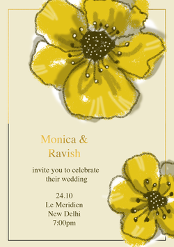 Yellow Poppies Invitation Card