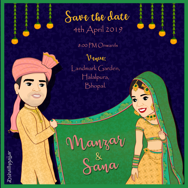 Green Dupatta Invitation Card